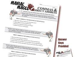 MANIAC MAGEE Grammar Commas Direct Address