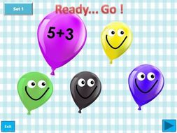 Balloon pop - Addition of numbers within 10