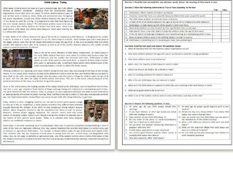 Child Labour Today - Reading Comprehension Worksheet / Text