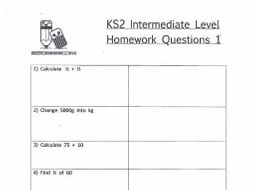 KS2 Maths Intermediate Level Homework Worksheets