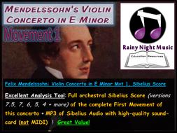 HSC Music 2 Stage 6 Mendelssohn Violin Concerto in E Minor Movement 1 Sibelius Scores for Analysis