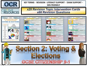 Citizenship GCSE 9-1 Voting &Elections  Revision Topic Cards