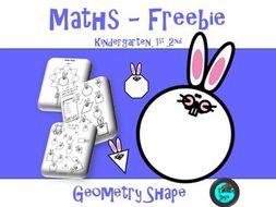 Geometry Shape Worksheet - Easter Theme - Kindergarten, 1st & 2nd - Freebie