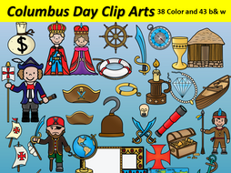 Columbus Day Clipart 81 images 38 Color and 43 b&w BilingualStars Clips
