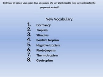 Plants Dormancy and Tropism vocabulary powerpoint and student note sheet