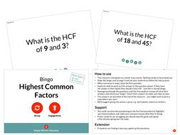 Highest Common Factors (Bingo)