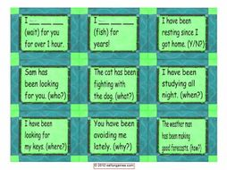 Present Perfect Continuous Tense Cards 4 Pages = 36 Cards