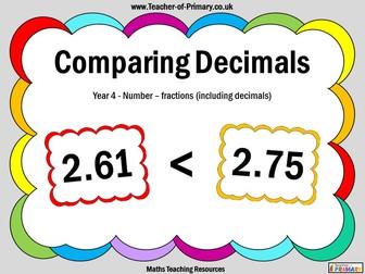Comparing Decimals - Year 4