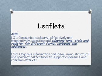 Leaflets: Identifying the format and content of leaflets and Non-Fiction writing task. 1-9 graded.