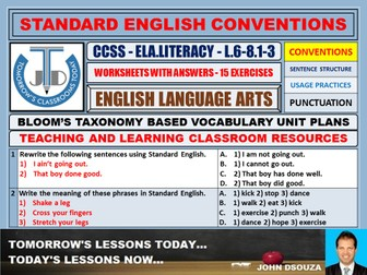 STANDARD ENGLISH CONVENTIONS: 15 WORKSHEETS WITH ANSWERS