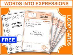 Writing Algebraic Expressions (Loop Cards)