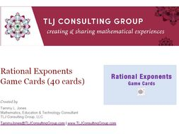 Rational Exponents Game Cards (40 Cards)