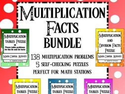 Multiplication Math Facts Puzzle bundle Math Station Activity