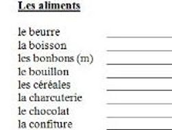French Food And Drink Vocab List To Translate By Jac42 Teaching