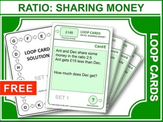 Ratio, Sharing Money (Loop Cards)