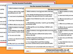 KS2 Tick the Incorrect Punctuation Test Practice GPS SATs Questions