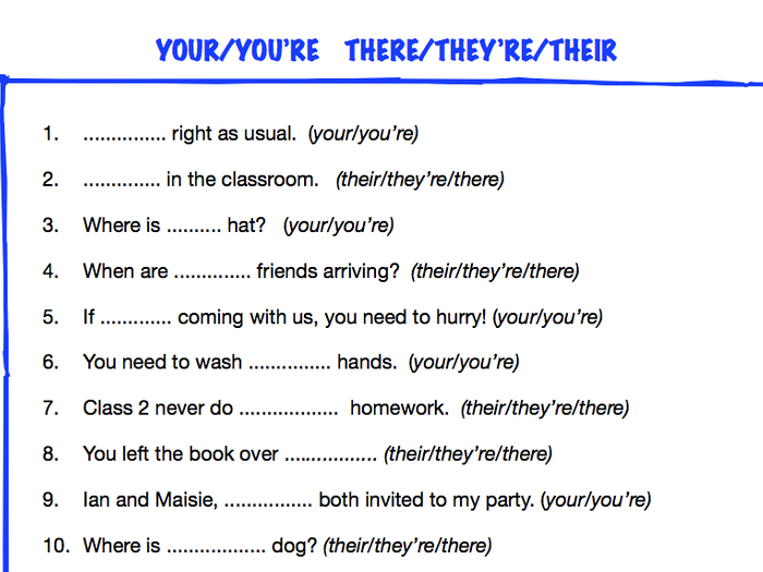 Differences Between There Their And They Re Worksheet Worksheets ...