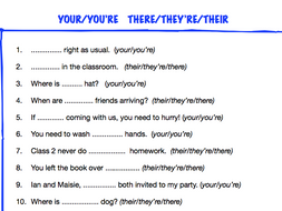 KS2 worksheet: your/you're; their/there/they're by ReallLanguages ...