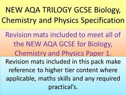 NEW AQA 2016 GCSE Trilogy reivison mats for Biology, Chemistry and Physics paper 1
