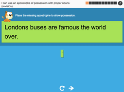 I can use an apostrophe of possession with proper nouns (revision) - Interactive Activity - Year 4 Spag