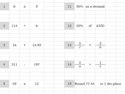 Infinite Worksheet - Number GYM