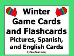 Spanish Winter Game Cards and Flashcards: Images, Spanish, and English Cards