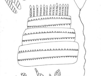 Happy Birthday: Special Days: Colouring Page