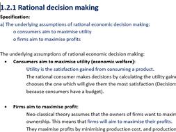 1.2 How markets work notes edexcel a level theme 1