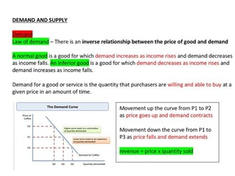 Economics - Demand and Supply notes