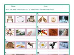 Phonics Vowel Team AY Photo Worksheet