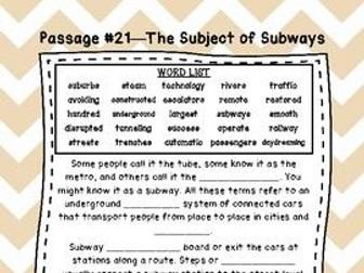 Sixth Grade Cloze Reading Passages Set C (#21-35)