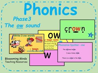Phonics Phase 3 - The 'ow' sound