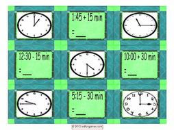 Telling Time Cards 4 Pages = 36 Cards