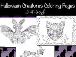Halloween Creatures Coloring Pages (Set of 5)