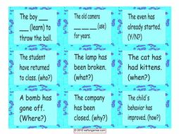 Present Perfect Tense Cards 4 Pages = 36 Cards