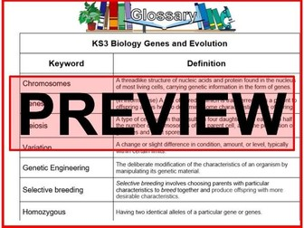KS3 Science Glossary Biology Genes and Evolution  (Blank & Completed)
