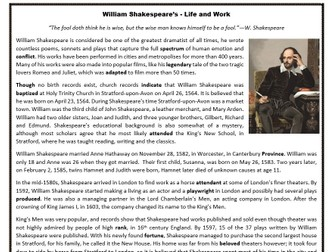 William Shakespeare's Life and Work - Reading Comprehension