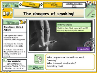 Dangers of Smoking PSHE Lesson