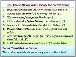 All 4 cases in German for the definite and indefinite article (bestimmter und unbestimmter Artikel)