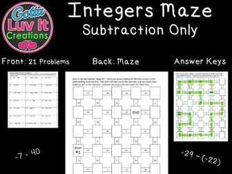 Integers Subtraction - 2 Mazes
