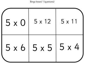 5,6,7 and 8 x tables Bingo games