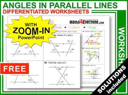 Angles in Parallel Lines (Worksheets with Answers)
