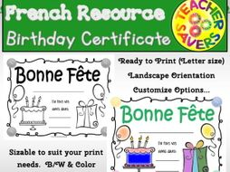 French Birthday Certificate for your students