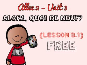 Allez 2 - Unit 3.1 - Alors, quoi de neuf? - phones and new technologies - KS3 French - FREE