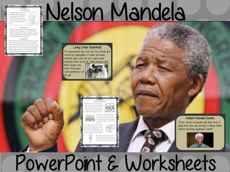 Nelson Mandela PowerPoint and Worksheets Lesson