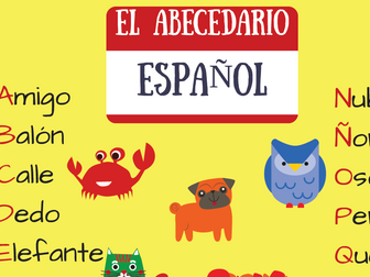 El abecedario español - póster. The Spanish Alphabet. Yellow