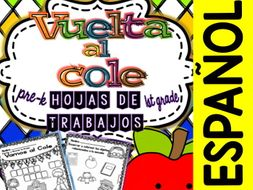 Spanish No Prep Printables - Back to School - Maths and Language - K/1st