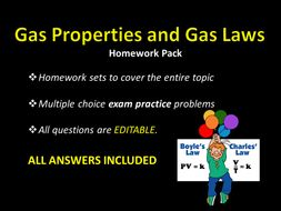 Gas Properties and Gas Laws HOMEWORK w/ ANSWERS, sample test questions,  worksheet, Chemistry