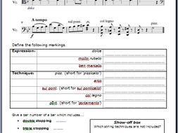 String Instrument Technique (starter worksheet)