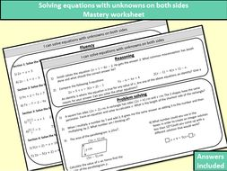 Solving equations with unknowns on both sides - mastery worksheet